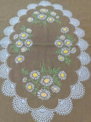 """VINTAGE HAND EMBROIDERED BROWN TABLECLOTH 60"""" x 78"""" LOVELY FLOWERS YELLOW GREEN"""