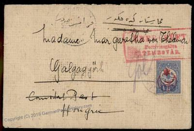 Turkey WWI Censored Redirected Cover to Hungary 72430
