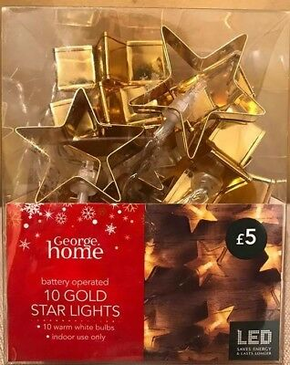 4 packs 10 GOLD STAR SHAPED LIGHTS BATTERY OPERATE PARTY WARM WHITE JOBLOT X590