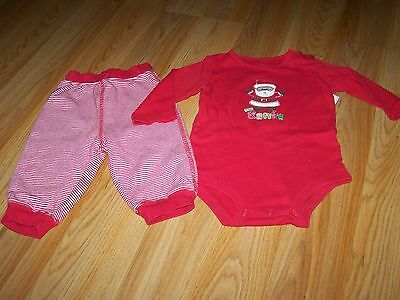 Size 9 Months Carter's Christmas Holiday Santa Clause One Piece & Striped Pants