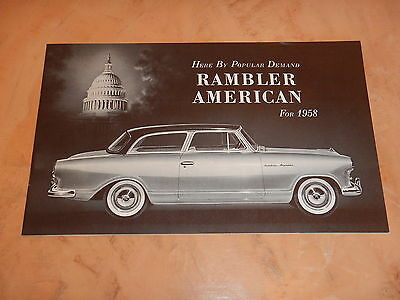ORIGINAL 1958 RAMBLER AUTOMOBILE DEALER SALES BROCHURE  (lot 72)