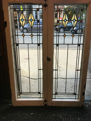 """Pair of Antique 1920""""s Stained Leaded Glass Windows / Doors 44"""" by 16"""""""