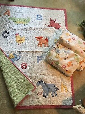 Pottery Barn Kids Alphabet Soup Crib Quilt Plus 3 Flannel Crib Sheets