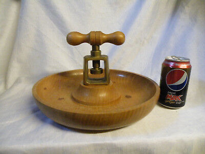 Large Hand Turned Wooden Nut Bowl With Brass Nut Cracker Screw
