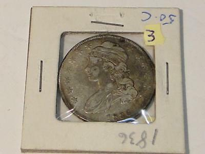 1836 Capped Bust Half Dollar With A Shield Misstrike
