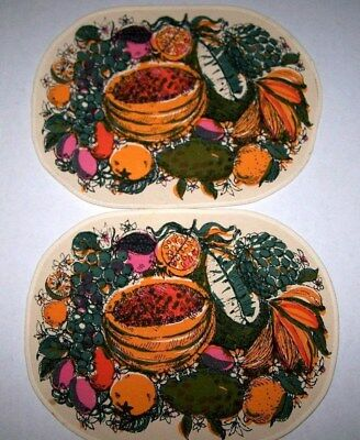 Vtg RETRO Key West Hand Print Oval Fabric Placemats (2) - FLA FRUIT - SIGNED!