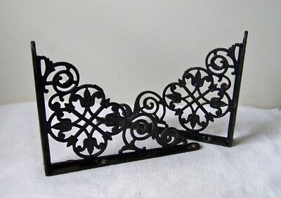 "Vintage Cast Iron 8"" x 6"" Matching Ornate Airy Design Black Shelf Brackets"