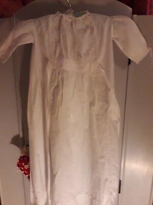 Stunning Vintage Cotton Dress/Christening Gown With Decorative Panels