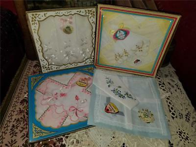 Lot 9 NOS Boxed Vintage Women Handkerchiefs Hankies Lace Embroidered Flowers