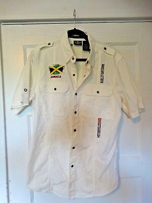 Harley-Davidson Jamaica Men's Embroidered Snap Button White Shirt Size M