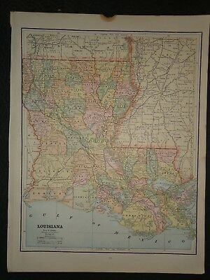 Vintage 1891 LOUISIANA MAP ~ Old Antique Original Atlas Map 100718