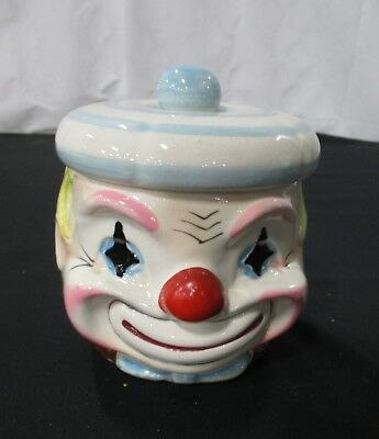 Vintage Small Clown Designed Cookie Jar/candy Dish With Lid Marked Japan