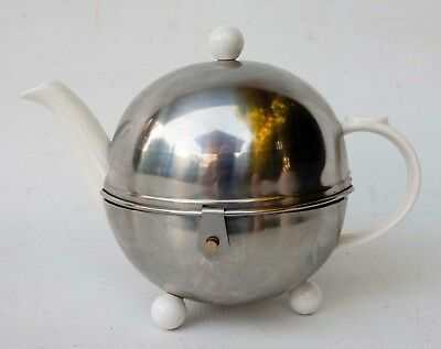 Vintage BonJour Stainless Steel Footed Tea Pot Warmer with White Porcelain Pot