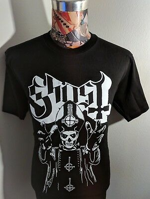 New Ghost Swedish Rock Band Black & White Papa Bishop Skeleton Pic Black T Shirt