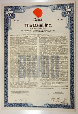 Japan. Daiei, Inc., 1976 $1,000 Specimen 6% Debenture Coupon Bond, XF SCBNC