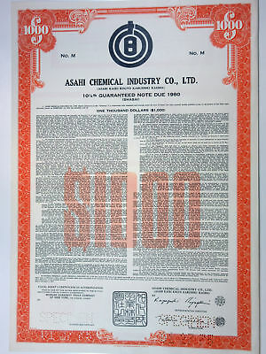 Japan. Asahi Chemical Industry Co., Ltd., 1975 $1,000 Specimen 10 1/4% Bond, XF