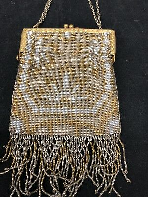 ANTIQUE Made In FRANCE Victorian MICRO Cut Bead Vintage Purse Gold Silver BEAUTY