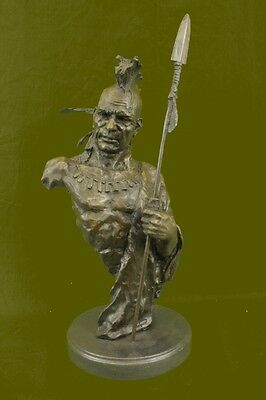 Handmade Native American Indian Warrior Bronze Sculpture Statue Figurine Art