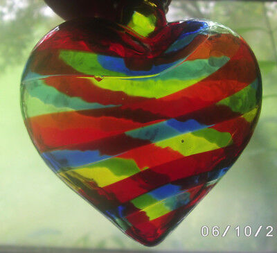 Vintage Carlyn Galerie Dallas Heart Shape Art Glass Ornament