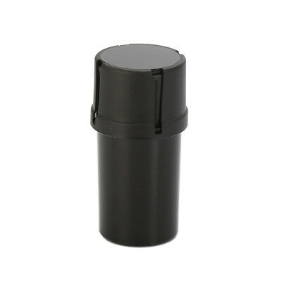 Solid Black MedTainer Style Storage Container with Built-In Grinder