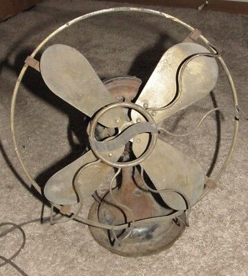 """Very Old Westinghouse 12"""" Brass Blade Electric Fan - For Parts"""