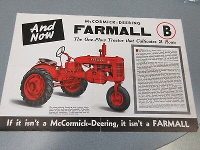 1939 Farmall B Tractor Sales Brochure Nice 4 Page with Frameable Centerfold
