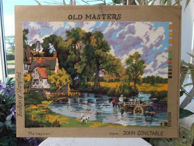 Vintage Completed Wool Tapestry Needlework Picture Constable Haywain Old Masters