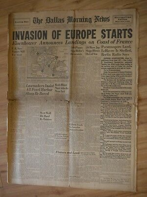 Dallas Morning News June 6, 1944 INVASION OF EUROPE STARTS