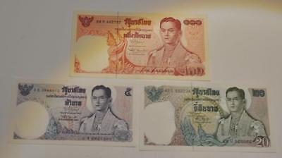 5, 20 and 100 Baht Thailand Pic 82, 84, 85 Banknotes Unc 3 Note Lot