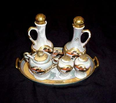 ANTIQUE LUSTERWARE MORIAGE HAND PAINTED 6 PIECE CRUET SET w/ TRAY