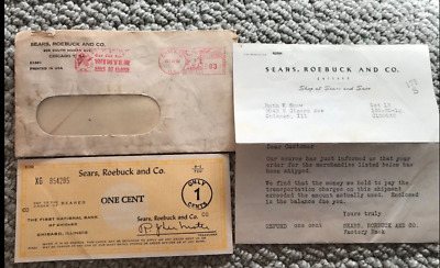 SEARS ROEBUCK AND CO 1 cent refund Check and Letter October 11 1950