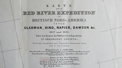 1857 Red River Expedtion Survey Map-German Survey Map Minnesota Canadian Border