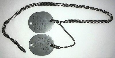 Original WWII US Navy Enlisted 1943 Dog Tags + Army Style Chain NAMED Herrington
