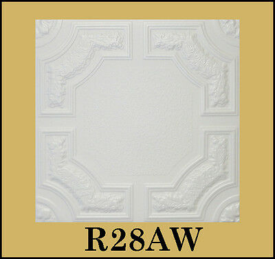 Glue Up Ceiling Tile Easy Installation R28AW Antique White Behr Satin Lot of 8pc
