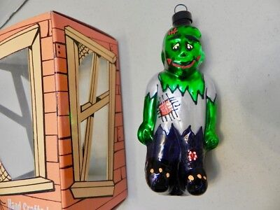 Retired Glass Frankenstein Ornament Vintage Hand Crafted Halloween Monster NIB