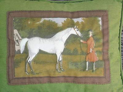 VINTAGE HORSE with RIDER EQUESTRIAN COUNTRYSIDE 3D PILLOW 1970 era Hand Crafted