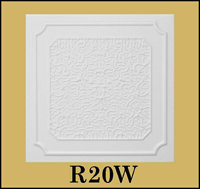 Glue Up Ceiling Tile Easy Installation R20W Antique White Behr Satin Lot of 8pcs