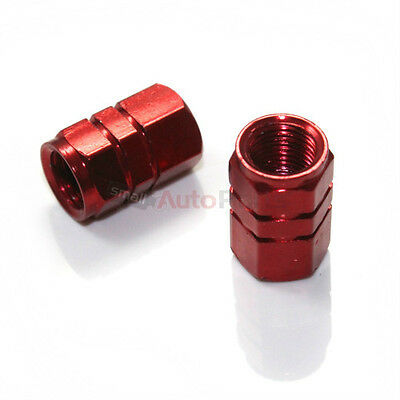 2 Red Aluminum Tire/Wheel Air Stem Valve Metal CAPS for Motorcycle-Bike-Scooter