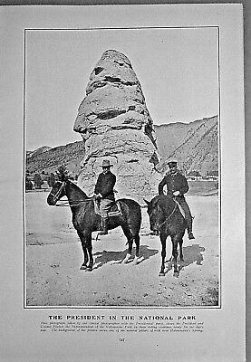 ROOSEVELT IN YELLOWSTONE & HIS WESTERN TOUR 1903 Harper's Weekly / TROUT-FISHING