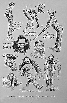 GOLF GRAPHIC BY E. W. KEMBLE 1911 Harper's Weekly / ANHUESER-BUSCH BREWERY