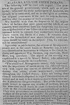 Alabama & The Creek Indians - Land Rights & Resolutions 1828 Newspaper