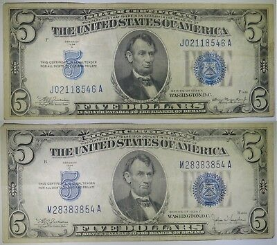 TWO 1934 $5 Five Dollar Silver Certificates, Blue Seal