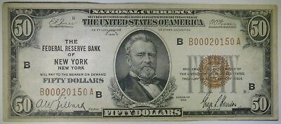1929 $50 Fifty Dollars National Currency, New York