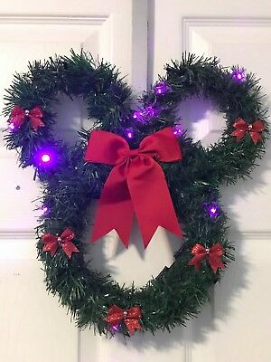 Mickey Mouse garland wreath with battery powered lights