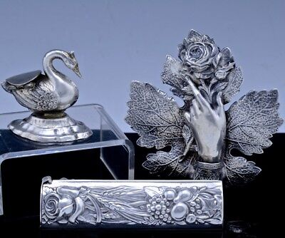Estate Lot Jewish Judaica Sterling Silver Swan Form Pill Box Spice Container +