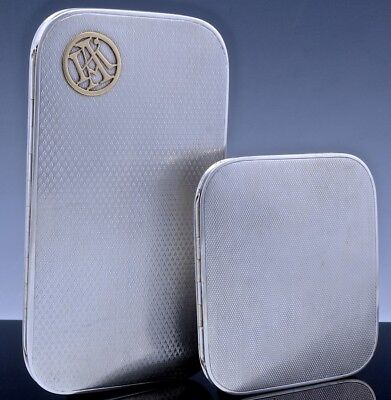 2SUPERB ART DECO ENGLISH STERLING SILVER CIGARETTE CASES 14k SOLID GOLD MONOGRAM