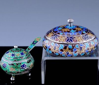 Amazing Lot Antique Lucknow Indian Sterling Silver Enamel Mustard Pot Snuff Box