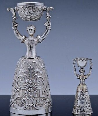 2 Vry Fine Antique Continental Solid Silver Figural Maiden Wedding Or Wager Cups