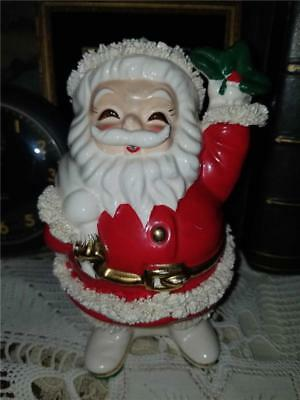 Vintage Ceramic Christmas Santa Claus Bank Spaghetti & Gold Trim Made Japan
