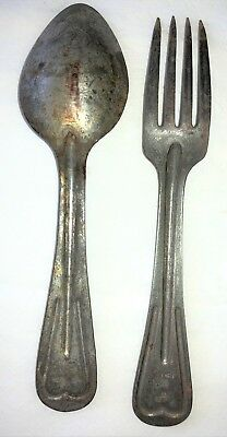 Original WWI US Army USMC Tin 1917 Fork and 1918 Spoon for M-1910 Field Mess Kit